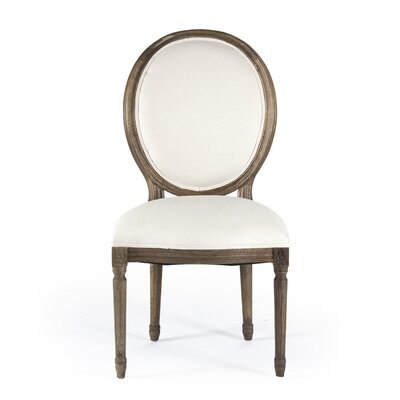 Medallion Side Chair in Linen - White Color: Natural Oak