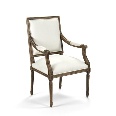 Louis Arm Chair Upholstery: Natural Oak, Upholstery: White