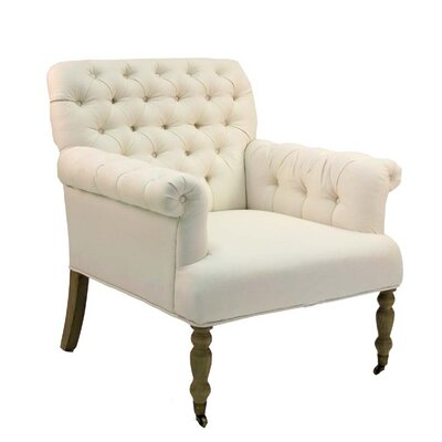 Lorraine Tufted Chair Upholstery: Ivory