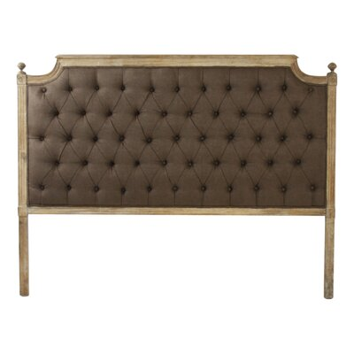 Louis Upholstered Panel Headboard Finish: Brown, Size: Queen