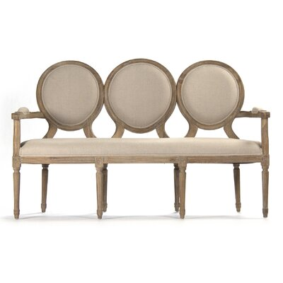 Medallion Settee Upholstery: Light Brown, Finish: Natural