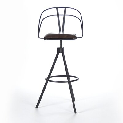 Nathan Adjustable Height Bar Stool with Cushion