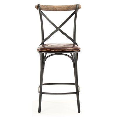 Zain Counter Height Bar Stool with Cushion Finish: Black