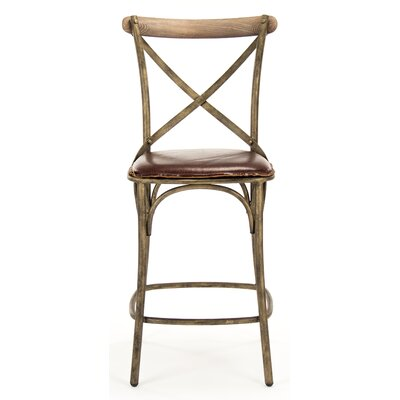 Zain Counter Height Bar Stool with Cushion Finish: Bronze