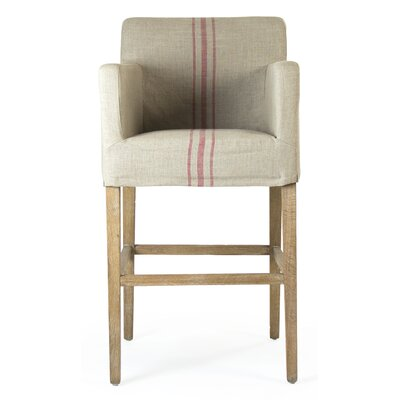 Avignon Bar Stool with Cushion Upholstery: Red