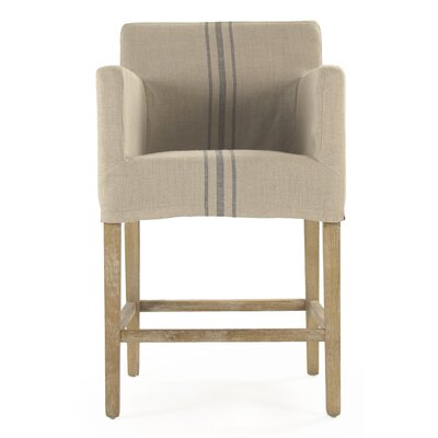 Avignon Bar Stool with Cushion Upholstery: Blue