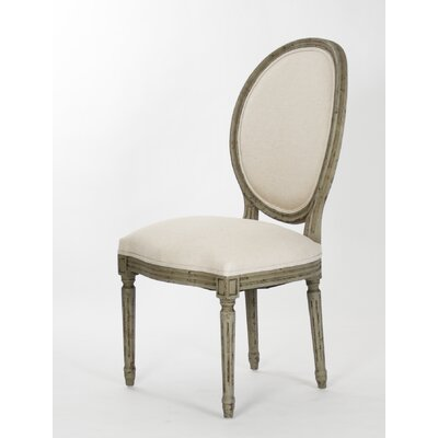 Medallion Upholstered Dining Chair Color: Faux Olive Wood