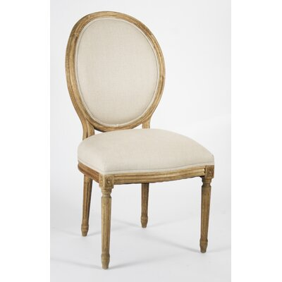 Low Price Zentique Medallion Side Chair Upholstery: Linen – Natural, Finish: Reclaimed Elm