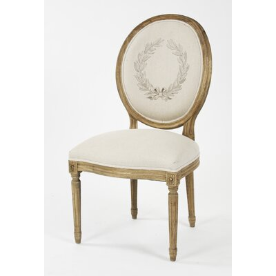 Medallion Side Chair Upholstery: Linen - Printed Natural, Finish: Reclaimed Elm