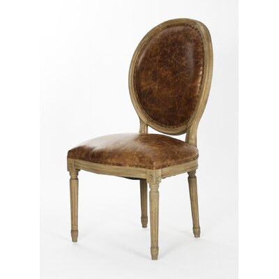Medallion Side Chair Upholstery: Leather - Brown, Finish: Reclaimed Elm