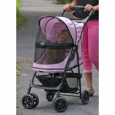 No Zip Happy Trails Standard Pet Stroller Color: Pink Diamond
