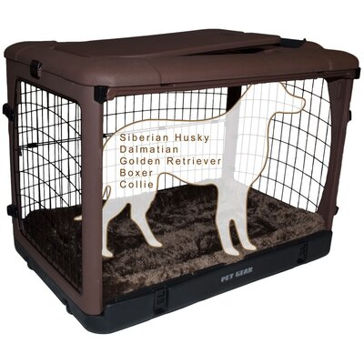 Deluxe Pet Crate II Size: Large (28 H x 28 W x 42 L), Color: Chocolate