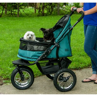 No-Zip Double Pet Stroller Color: Pine Green