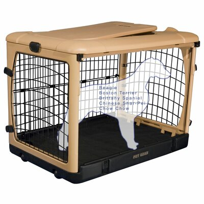 Deluxe Pet Crate II Size: Medium (27 H x 24 W x 36 L), Color: Tan