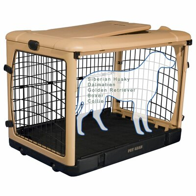 Deluxe Pet Crate II Size: Large (28 H x 28 W x 42 L), Color: Tan