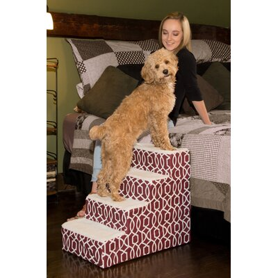 Trellis 4 Step Pet Stair Color: Dark Cranberry