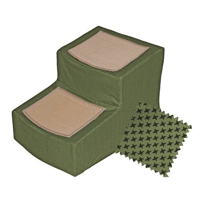 Designer 2 Step Pet Stair with Removable Cover Color: Sage