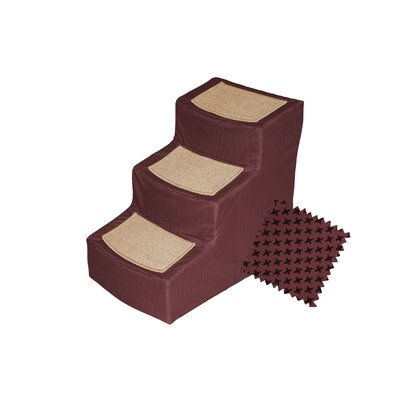 Designer 3 Step Pet Stair with Removable Cover Color: Burgundy