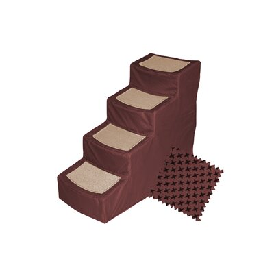 Designer 4 Step Pet Stair with Removable Cover Color: Burgundy
