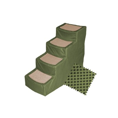Designer 4 Step Pet Stair with Removable Cover Color: Sage