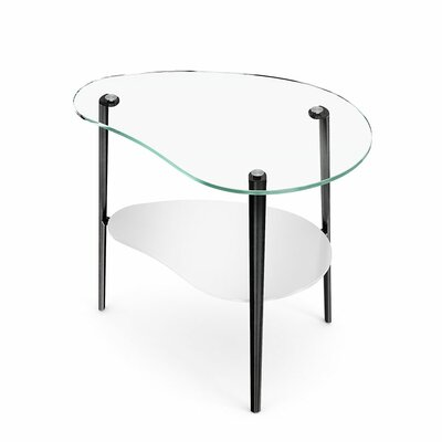Comma End Table Shelf Glass Finish: Clear, Leg Finish: Polished