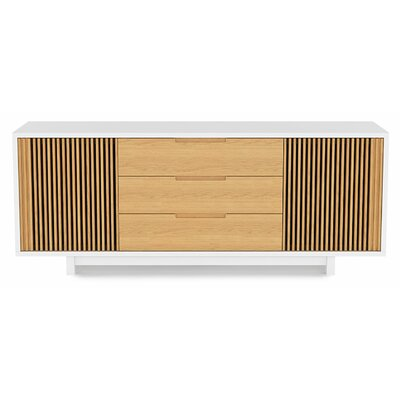 Vertica 73.5 TV Stand Color: Satin White/White Oak