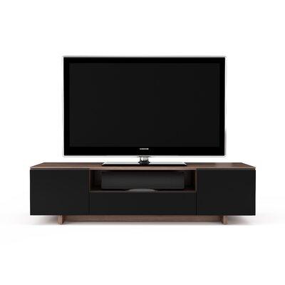 Nora 77 TV Stand Color: Natural Walnut / Black Doors