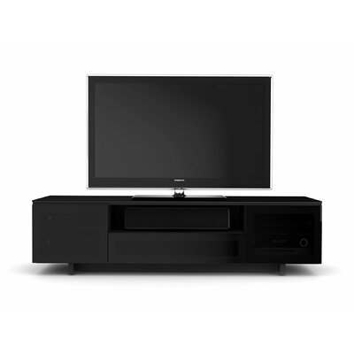 Nora 77 TV Stand Color: Gloss Black / Grey Doors