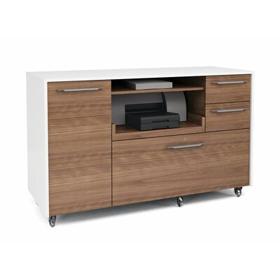 Format 1 Door Credenza Finish: Natural Walnut/Satin White Product Picture 456