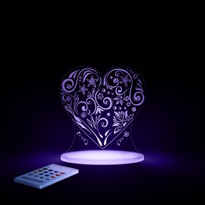Aloka Starlights LED Love Heart Night Light with Remote Control