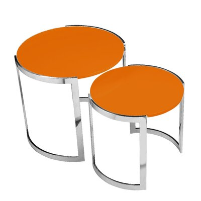 Omni 2 Piece Nesting Table Set Finish: Orange