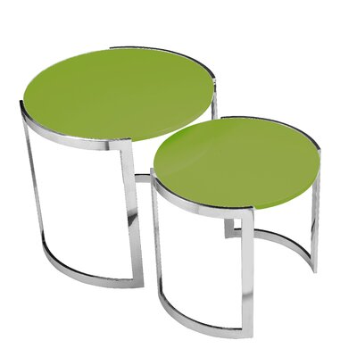Omni 2 Piece Nesting Table Set Finish: Green