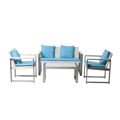 Chester 4 Piece Lounge Seating Group with Cushions Fabric: White / Turquoise
