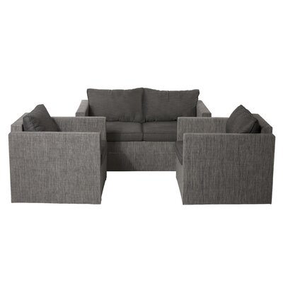 Lion 3 Piece Lounge Seating Group with Cushions Fabric: Navy