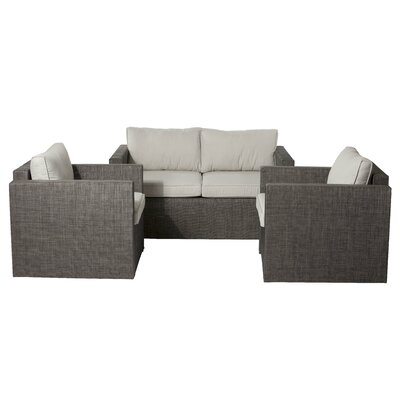 Lion 3 Piece Lounge Seating Group with Cushions Fabric: Gold