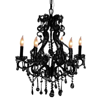 Isabella 6-Light Crystal Chandelier Color: Black