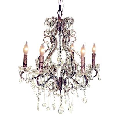 Isabella 6-Light Crystal Chandelier Color: Rust