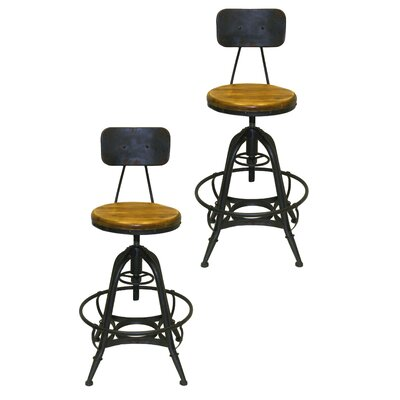 Bruce Adjustable Height Swivel Bar Stool Base Finish: Amber