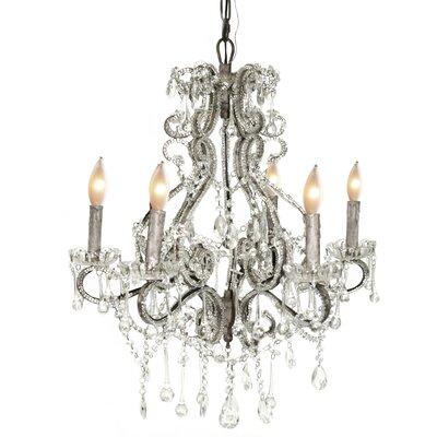 Isabella 6-Light Crystal Chandelier Color: Silver