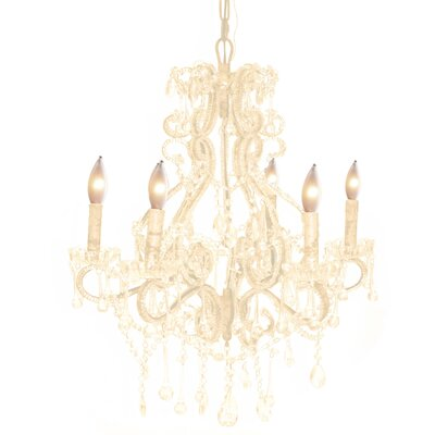 Isabella 6-Light Crystal Chandelier Color: White