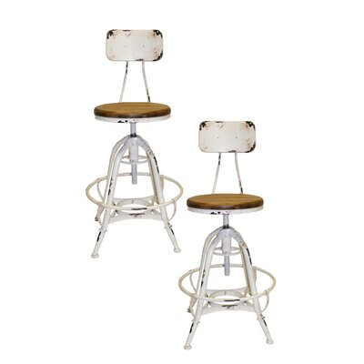 Bruce Adjustable Height Swivel Bar Stool Base Finish: White
