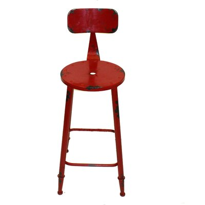 Armand 28 inch Bar Stool Upholstery: Red