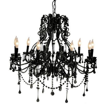 Isabella 10-Light Crystal Chandelier Color: Black