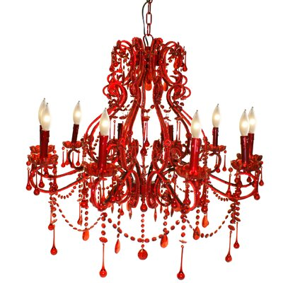 Isabella 10-Light Crystal Chandelier Color: Red