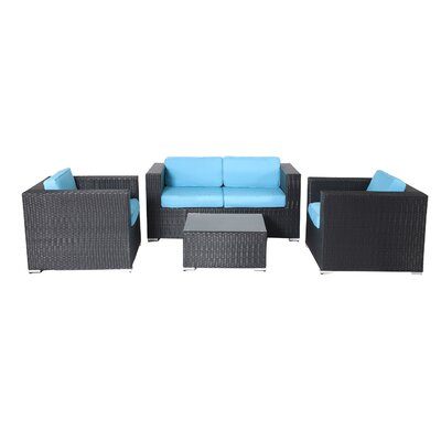 Shadow 4 Piece Deep Seating Group with Cushions Fabric: Turquoise