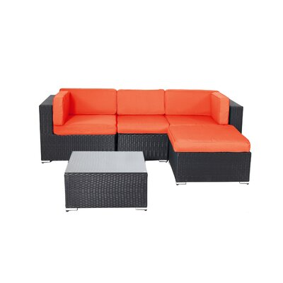Pangea Home Shadow 5 Piece Rattan Sectional Sofa with Cushions Fabric: Orange