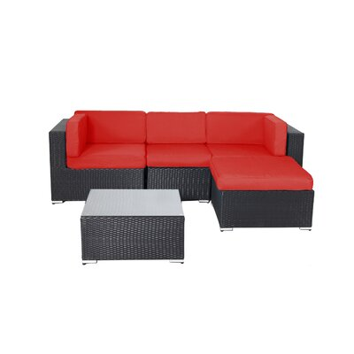 Pangea Home Shadow 5 Piece Deep Seating Group with Cushions Fabric: Red