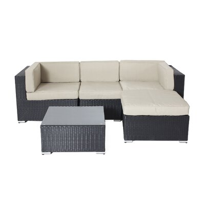 Shadow 5 Piece Deep Seating Group with Cushions Fabric: Taupe