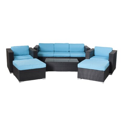 Shadow 6 Piece Deep Seating Group with Cushions Fabric: Turuoise