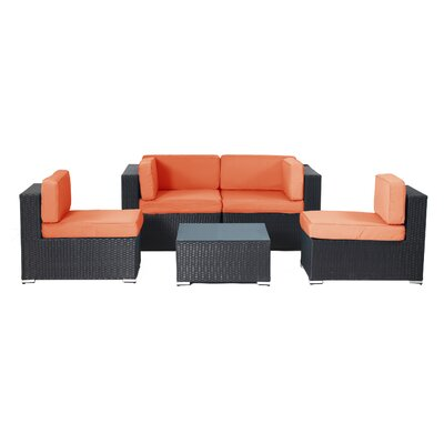Shadow Shay 5 Piece Deep Seating Group with Cushions Fabric: Orange
